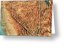 Topographic Map Of Nevada.Nevada State Usa 3d Render Topographic Map Border Greeting Card For