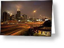 Never Sleeping Atlanta In Motion Midtown Light Trails Art Greeting Card