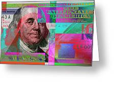 New 2009 Series Pop Art Colorized Us One Hundred Dollar Bill  No. 3 Greeting Card
