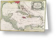 New And Accurate Map Of The West Indies Greeting Card by American School