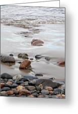 New England Beach With Rocks And Waves Greeting Card