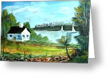 New England Cottage Greeting Card