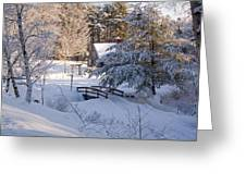 New England House And Forest In The Snow Greeting Card