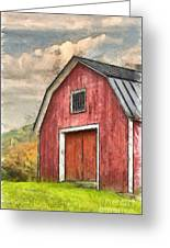 New England Red Barn Pencil Greeting Card