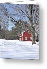 New England Red House Winter Greeting Card