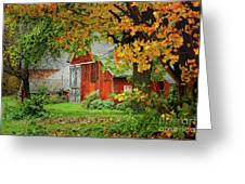 New England Rustic - New England Fall Landscape Red Barn Greeting Card