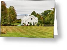 New England Traditional House In The Fall Greeting Card