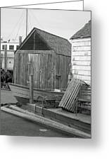 New England Wharf Scene In Black And White Greeting Card