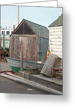 New England Wharf Scene Greeting Card