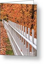 New England White Picket Fence With Fall Foliage Greeting Card
