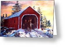 New England Winter Crossing Greeting Card