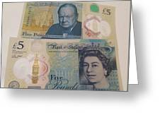 New Five Pound Notes Greeting Card