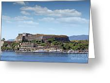new fortress and port Corfu town Greece Greeting Card