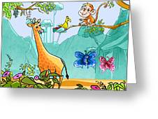 New Friends In The Jungle Greeting Card