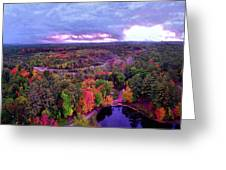 New Hampshire Fall Sunset Over Pond Greeting Card