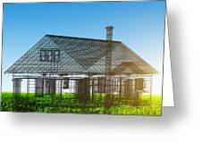 New House Wireframe Project On Green Field Greeting Card