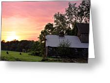New Jersey Barn Sunset Greeting Card