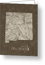 New Mexico Map Music Notes 3 Greeting Card