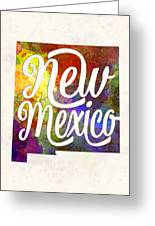 New Mexico Us State In Watercolor Text Cut Out Greeting Card