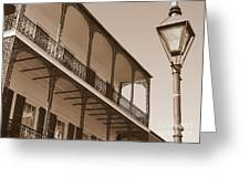 New Orleans Balcony With Lamp Greeting Card