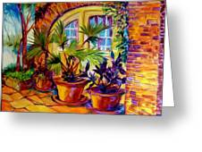 New Orleans Courtyard By M Baldwin Greeting Card
