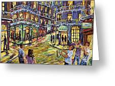 New Orleans Jazz Night By Prankearts Fine Art Greeting Card