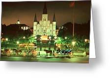 New Orleans Night Photo - Saint Louis Cathedral Greeting Card