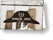 New Orleans Sign - Napoleon House - Sepia Greeting Card