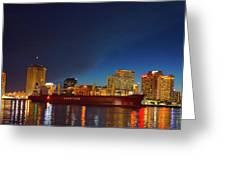 New Orleans Skyline At Night  Greeting Card