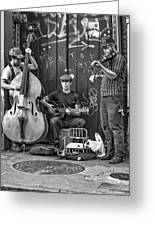 New Orleans Street Musicians Bw Greeting Card