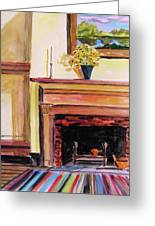 New Painting Over The Mantel Greeting Card