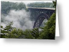 New River Gorge Bridge On A Foggy Day In West Virginia Greeting Card by Brendan Reals