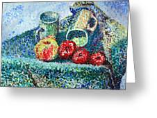 New Work Painted In Pointillism  Greeting Card