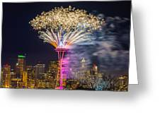 New Year Fireworks - Seattle Greeting Card