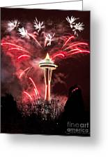 New Years At The Space Needle Greeting Card