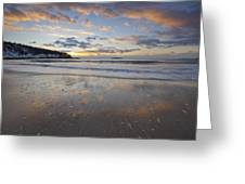 New Year's Morning On Sand Beach Greeting Card