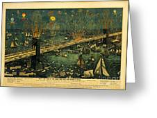 New York And Brooklyn Bridge Opening Night Fireworks Greeting Card