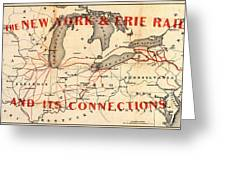 New York And Erie Railroad Map 1855 Greeting Card