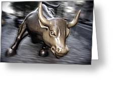 New York Bull Of Wall Street Greeting Card