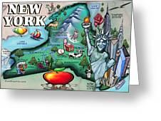 New York Cartoon Map Greeting Card