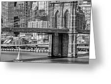 New York City Brooklyn Bridge And East River Greeting Card