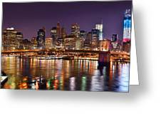 New York City Brooklyn Bridge And Lower Manhattan At Night Nyc Greeting Card