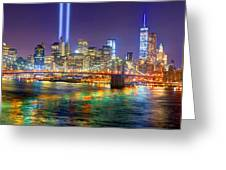 New York City Brooklyn Bridge Tribute In Lights Freedom Tower World Trade Center Wtc Manhattan Nyc Greeting Card