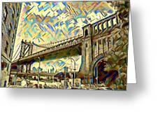 New York City - Brooklyn Bridge Watercolor Greeting Card