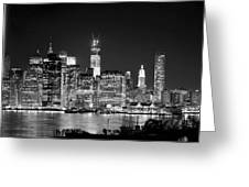 New York City Bw Tribute In Lights And Lower Manhattan At Night Black And White Nyc Greeting Card