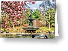 New York City Central Park Bethesda Fountain Blossoms Greeting Card