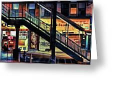 New York City Elevated Subway Stairs Greeting Card