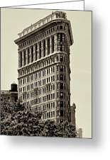 New York City - Flatiron In Sepia Greeting Card