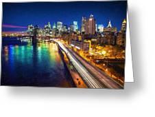 New York City Lights Blue Greeting Card