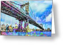 New York City Manhattan Bridge Blue Greeting Card